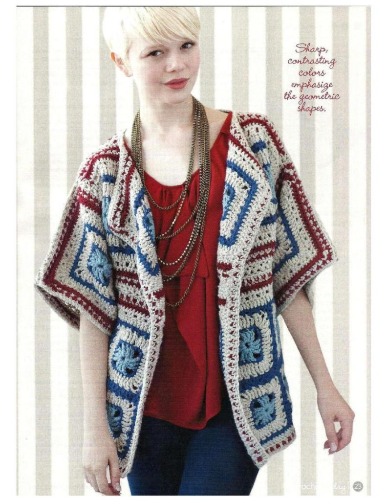 Crochet jacket pattern with granny squares
