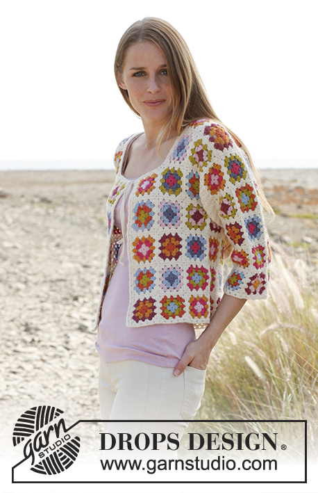 Crochet jacket with ¾ sleeves and granny squares