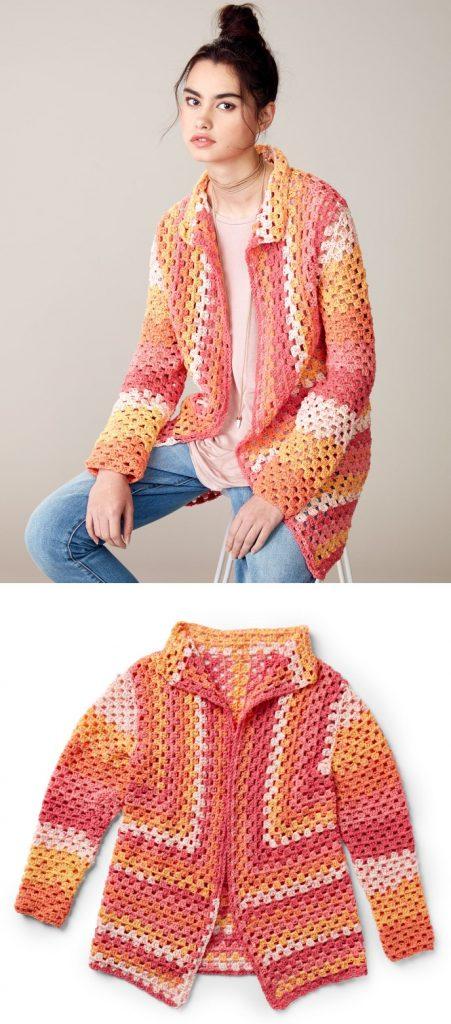 Directional granny square cardigan free crochet pattern