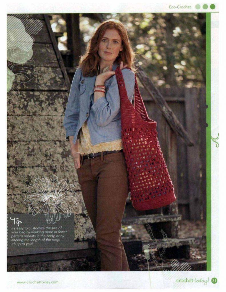 Earth friendly tote crochet market bag pattern