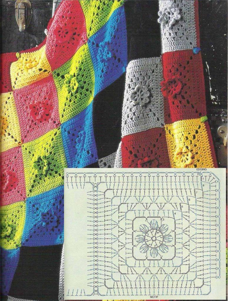 Flower box diagram crochet granny square