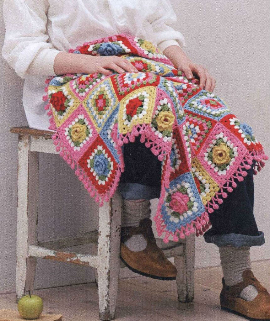 Flower square crochet afghan