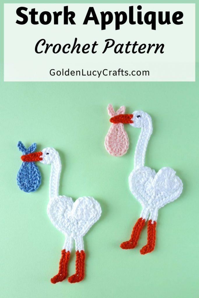 Free Crochet Pattern for a Stork Applique