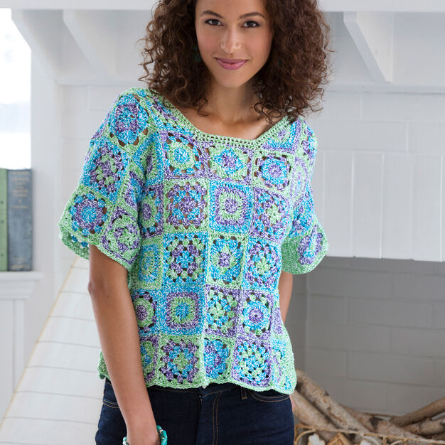 Free crochet pattern for a granny square tee