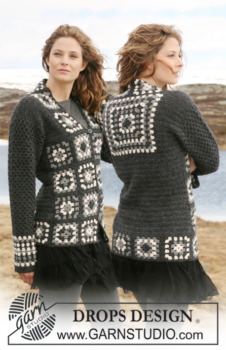 Free crochet pattern for a jacket with squares and dc-pattern