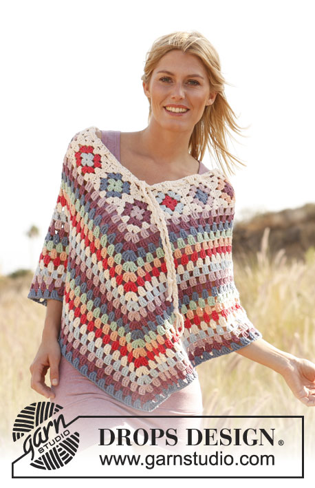 Free crochet pattern for a poncho with granny squares