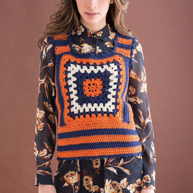 Free crochet pattern for a single square granny vest