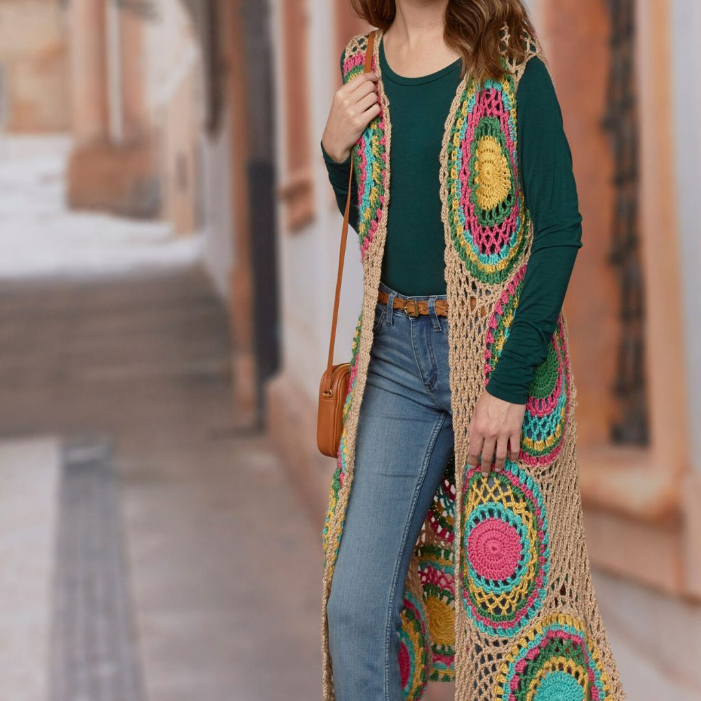 Free knitting pattern for a hippy vest