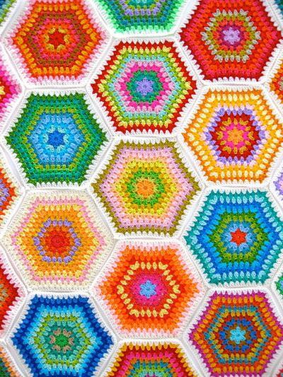 Granny Hexagon Crochet Blanket Rainbow