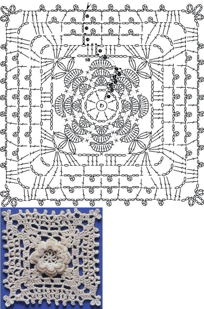 Lace Crochet Square Diagrams with flower
