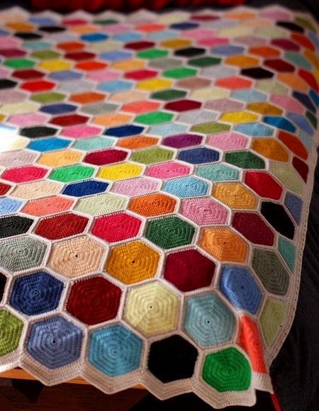 Solid Hexagon crochet blanket