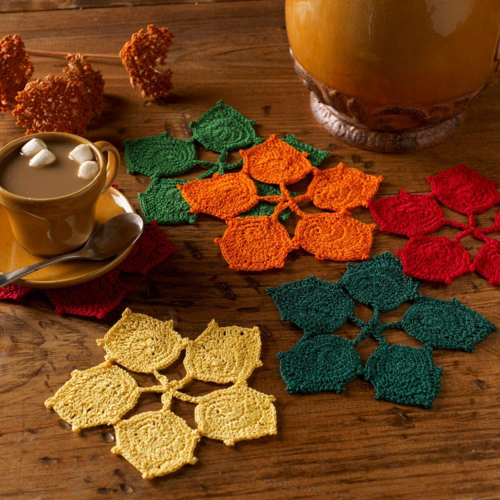 Free crochet coaster pattern with leaf shape