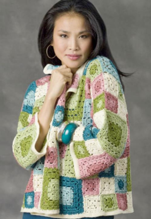 Free crochet pattern for a granny square jacket
