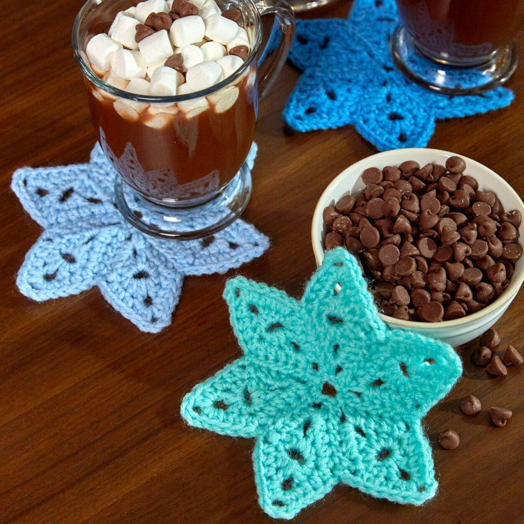 Free crochet pattern for a star coaster motif