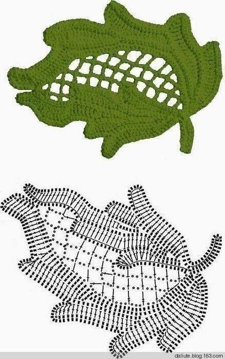 Leaves crochet diagram
