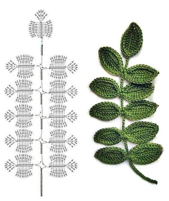Leaves crochet diagrams