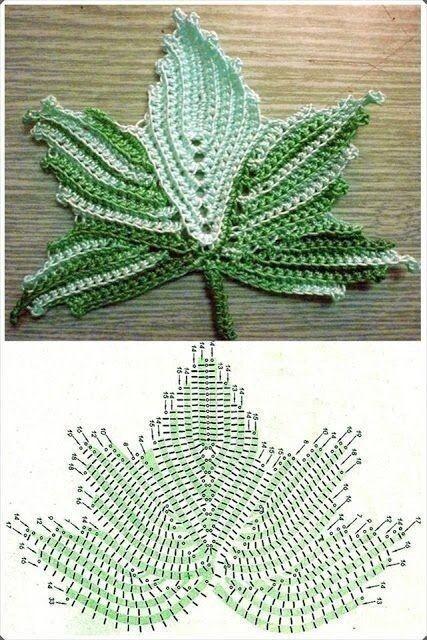 Maple leaf crochet diagram