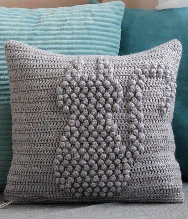 Cat bobble throw pillow crochet