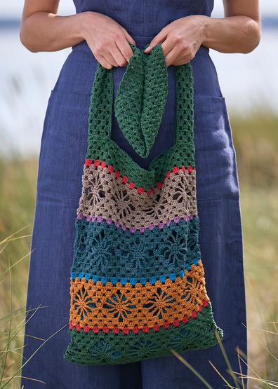Free crochet tote bag with lace stitch