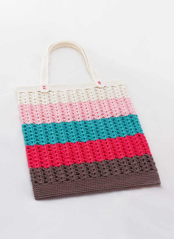 Simple free crochet summer tote bag pattern