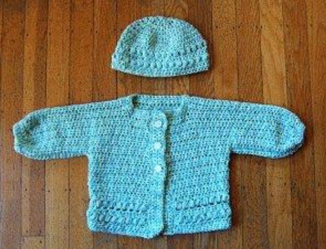 Crochet Puff Stitch Baby Cardigan & Hat