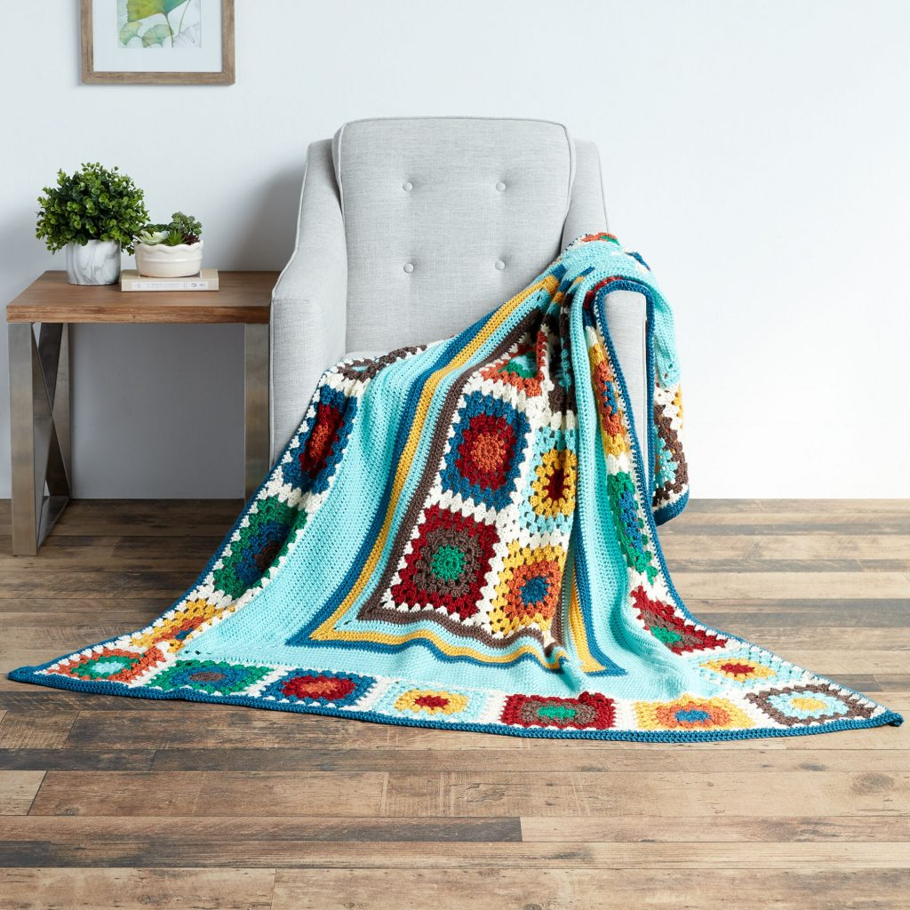 Crochet granny stripes and squares free pattern