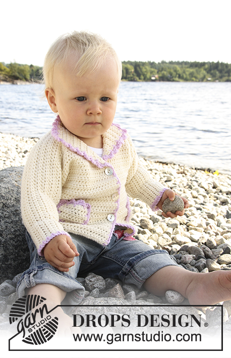 Crochet jacket with pockets for baby and children