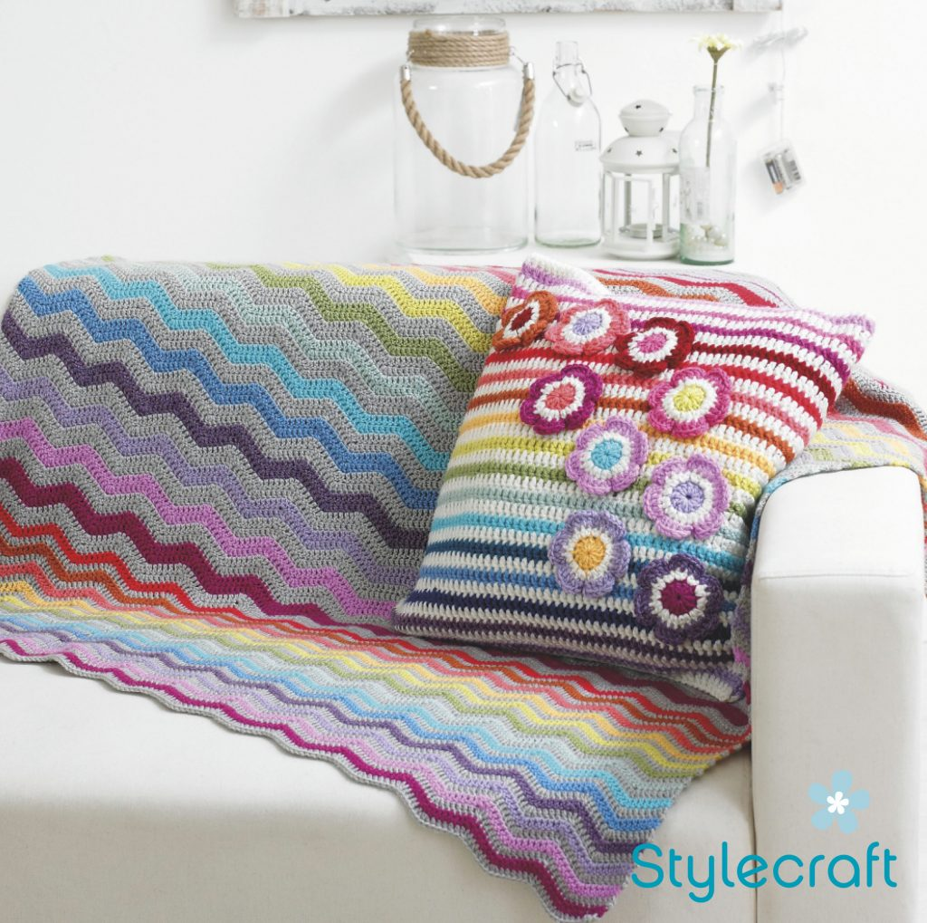 Free Crochet Pattern for a Ripple Blanket and Cushion