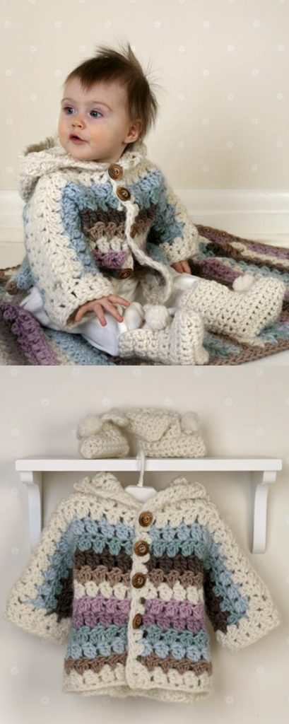 Free Crochet Patterns for Babies Jacket and Booties