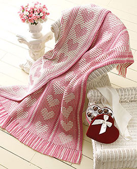 Free crochet pattern for a heart afghan blanket