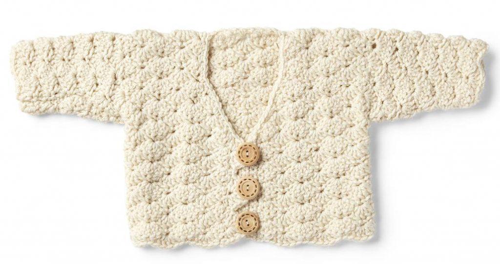 Free crochet pattern for a sweet shell cardigan