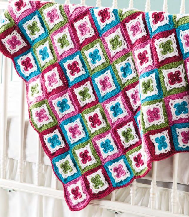 Free crochet pattern for an Irish flower granny square baby blanket