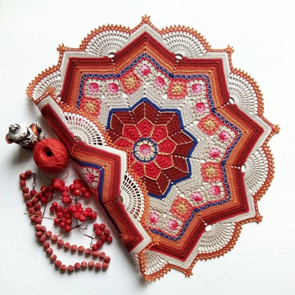 Star and Granny Square Doily Crochet Diagram Pattern