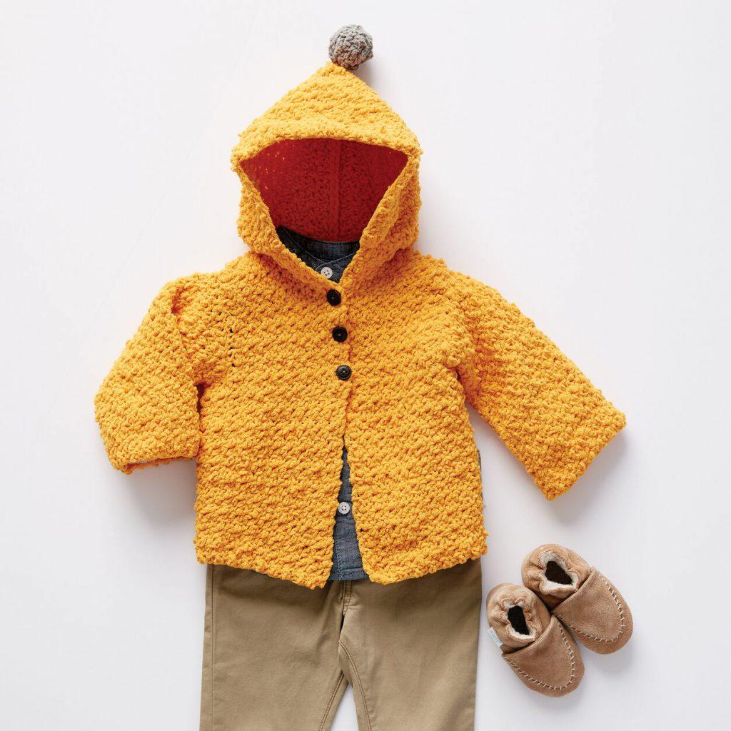 crochet baby jacket with hood free pattern