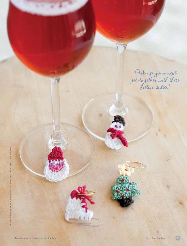 Crochet Christmas wine tags pattern