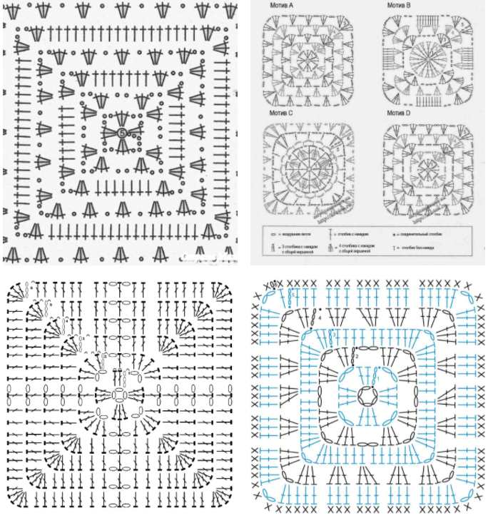 Crochet Granny Square Diagram Variations
