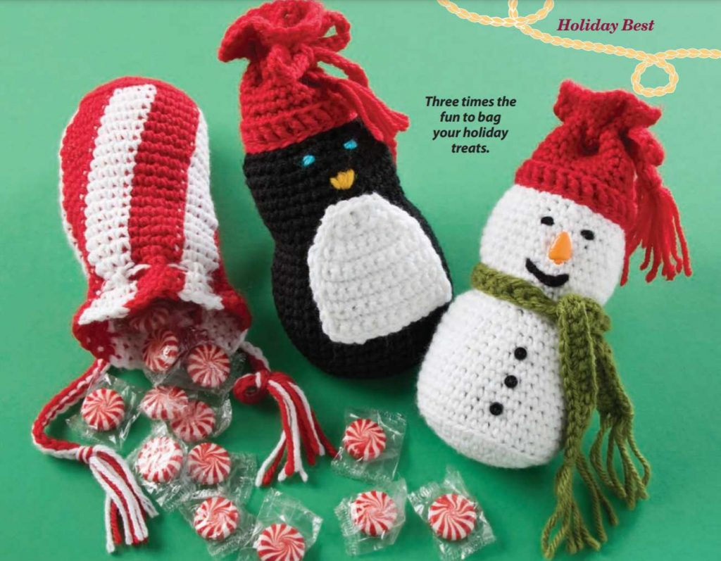 Free crochet Christmas pattern for a cheery gift bag snowman and penguin