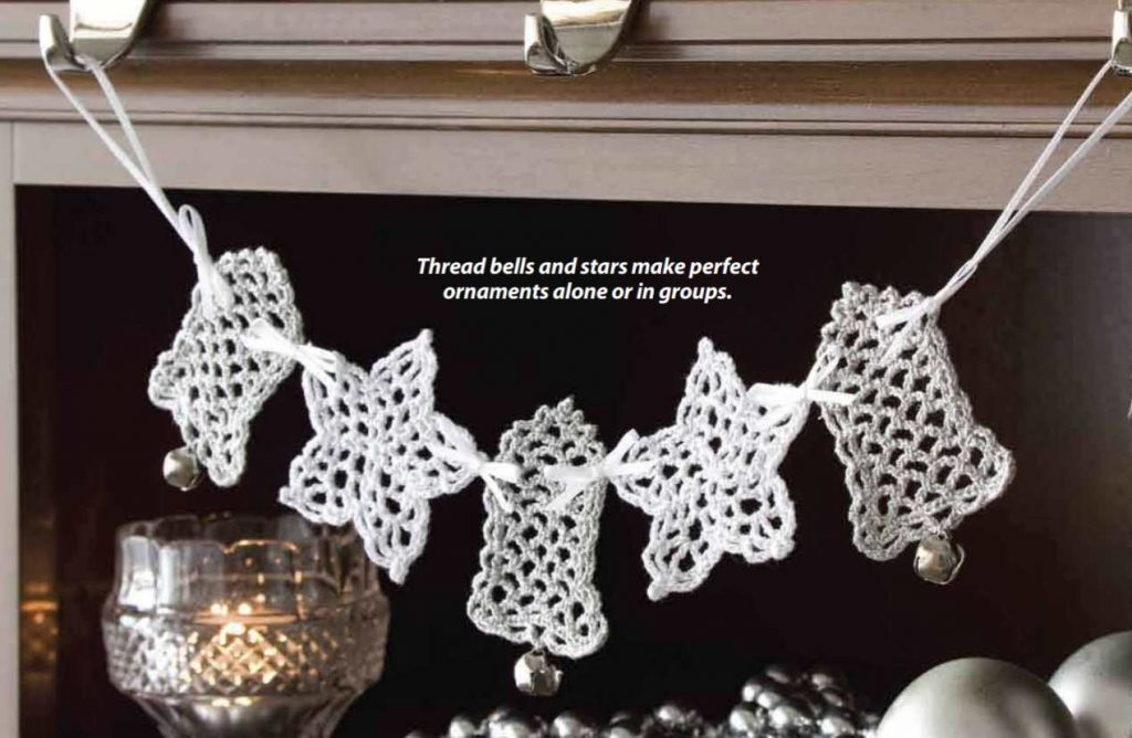 Free crochet christmas pattern for bells and stars garland