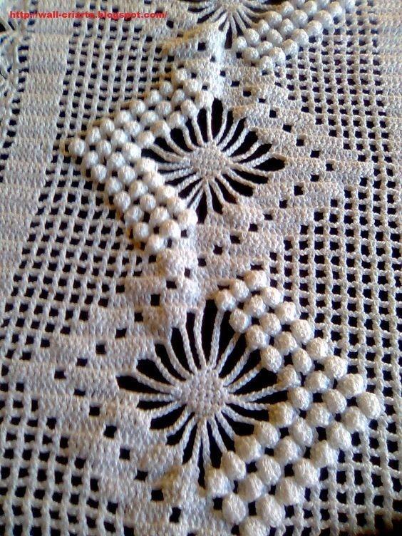 Lace bobble crochet diamond diagram pattern