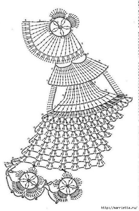 Little fancy girl old days crochet motif diagram