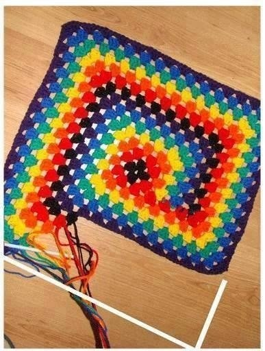 Rainbow Square Spiral Crochet Pattern