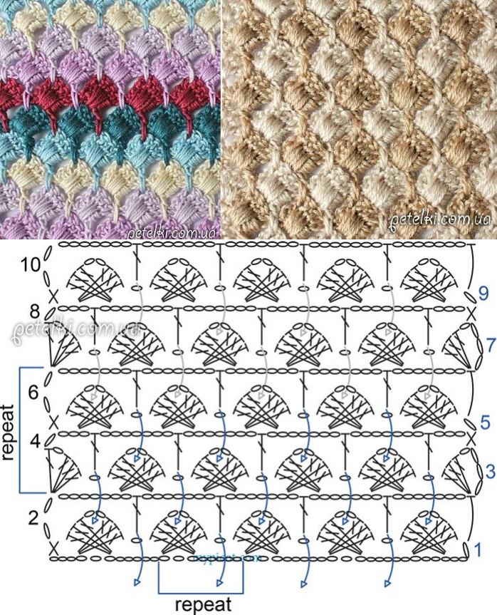 Crochet Diagrams for stitches using Various Colors solid