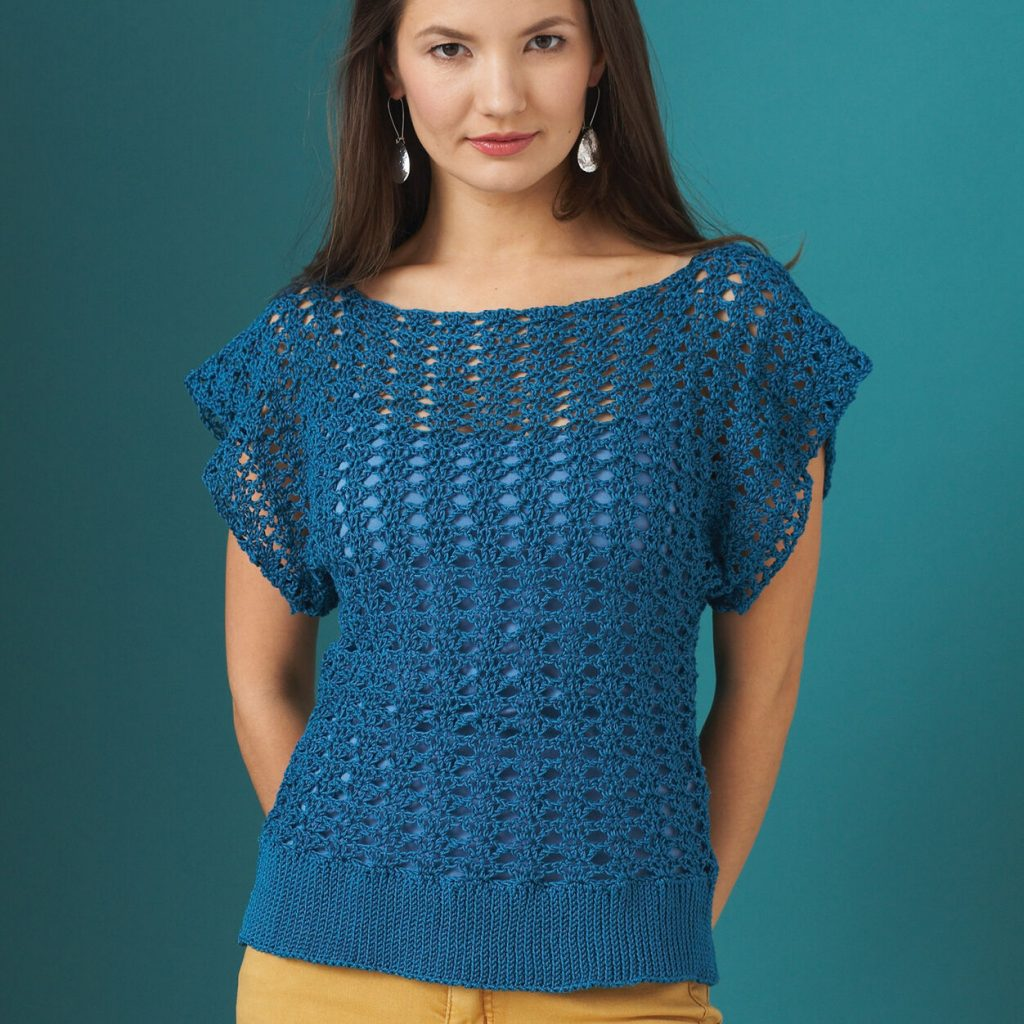 Free crochet tshirt openwork top pattern easy