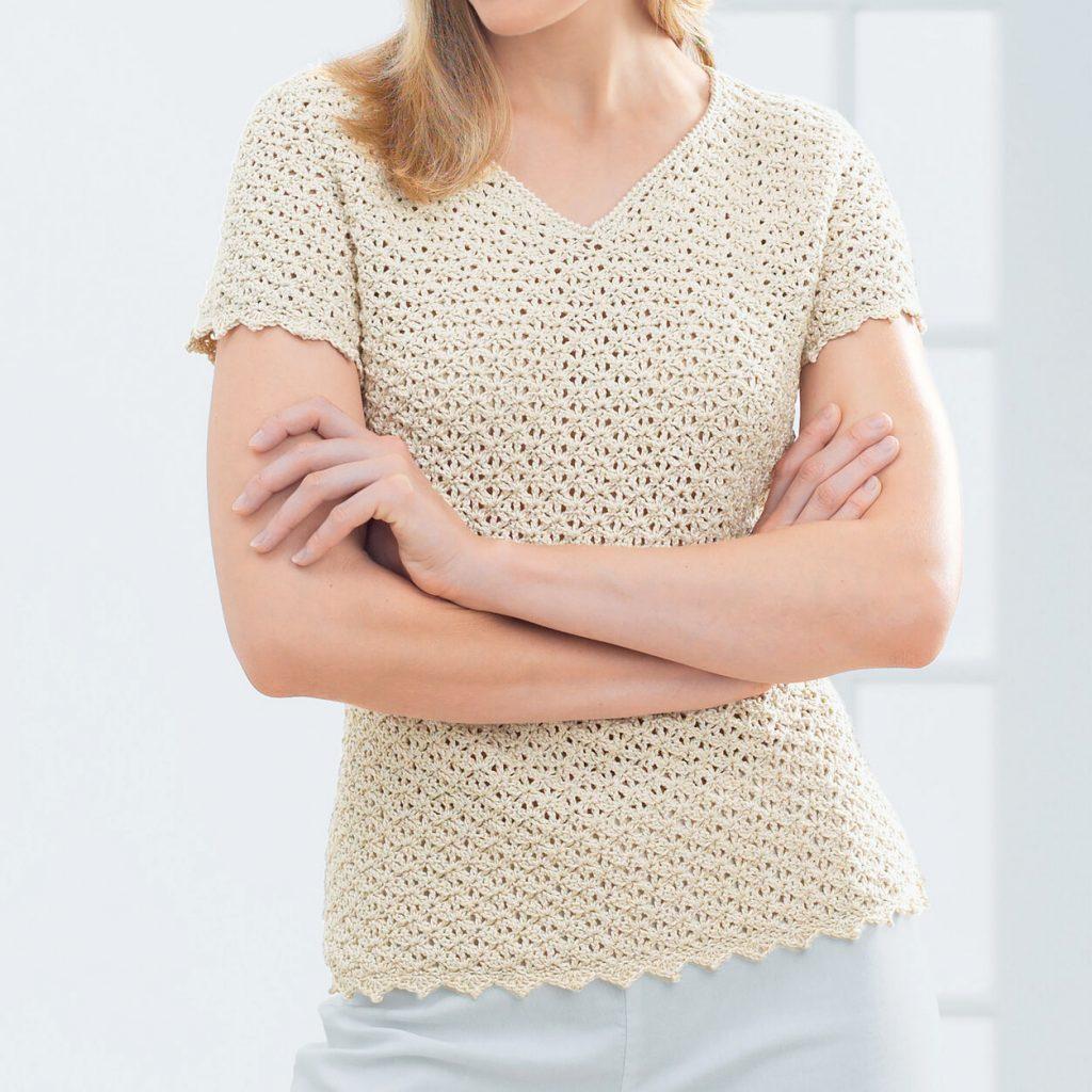V-neck crochet pattern free tee