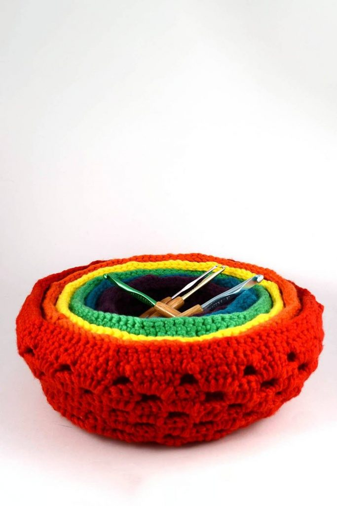 Free Crochet Pattern for Rainbow Nesting Baskets