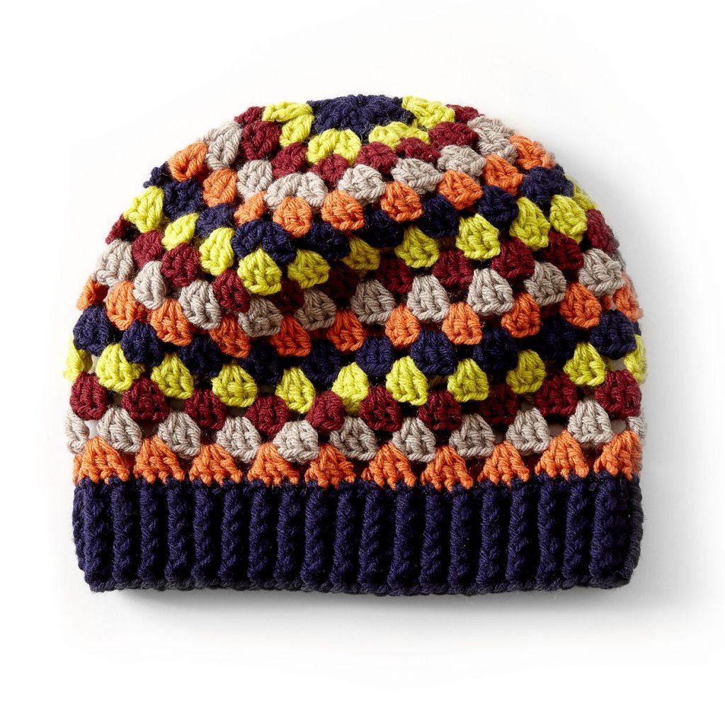 Free crochet pattern for a granny stripe hat