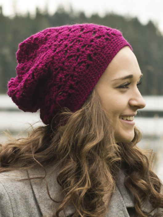 free slouchy eyelet crochet hat pattern
