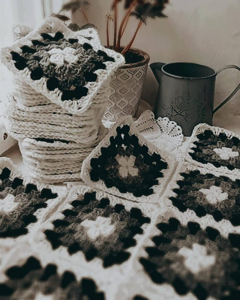 Black white and gray granny square crochet blanket