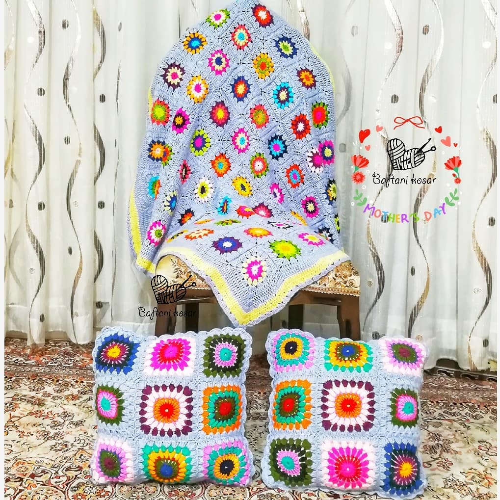 Crochet Granny Square Blanket colorful with baby blue border