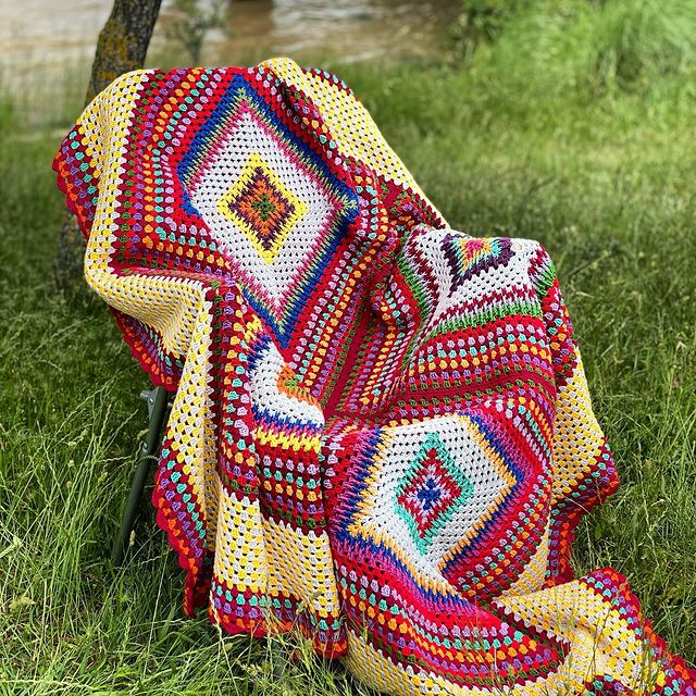 Crochet Granny Square Blanket Color Inspiration from Instagram